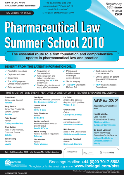 Patent Docs Pharmaceutical Law Summer School - Law docs